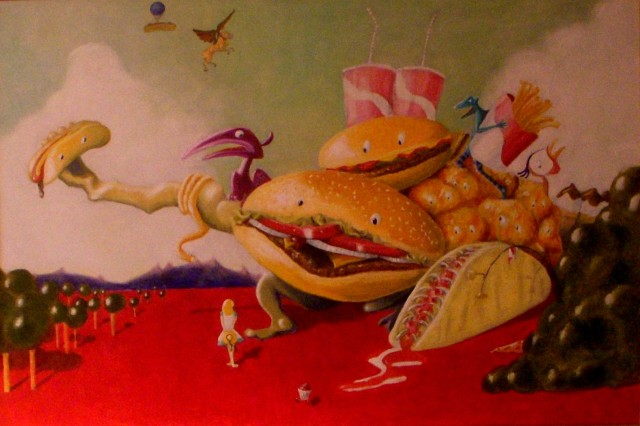 """The Temptations of Fast Food."" Oil on canvas."
